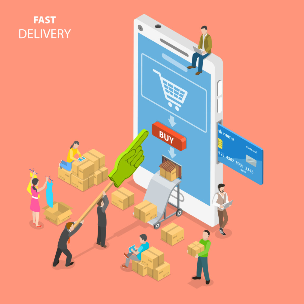 Fast delivery flat isometric vector concept. People are around a huge smartphone buying some goods at online store and get them immediately from the delivery hole in the phone screen.