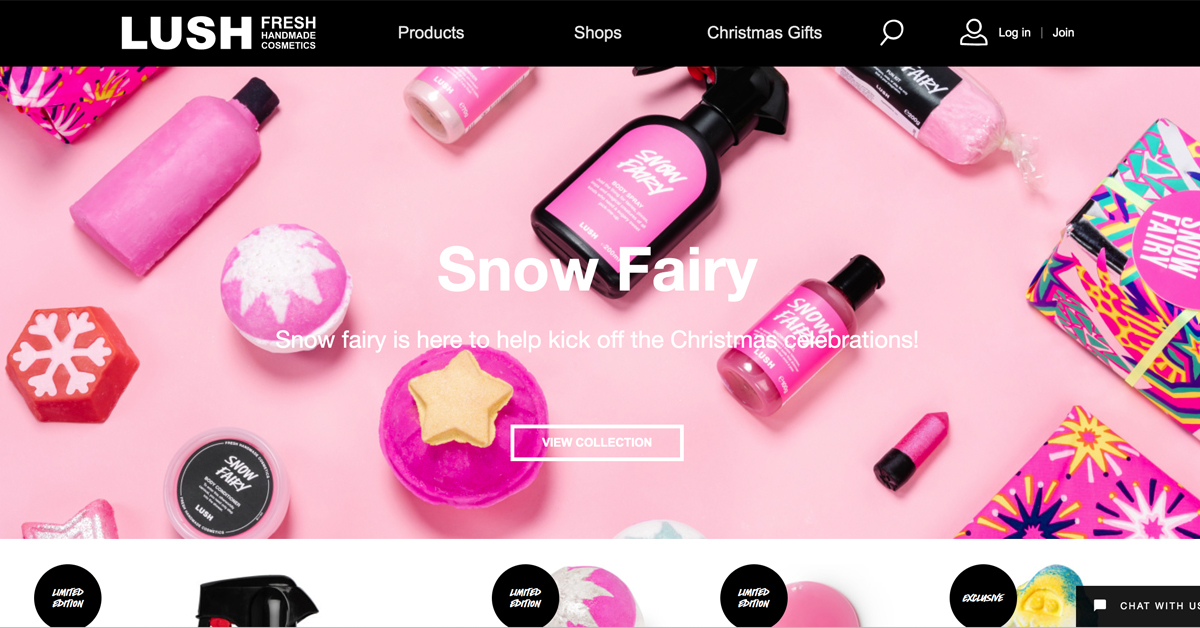 lush cosmetics creative web design
