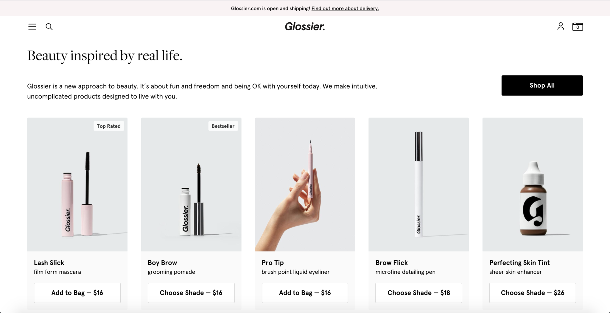 Glossier Website Design