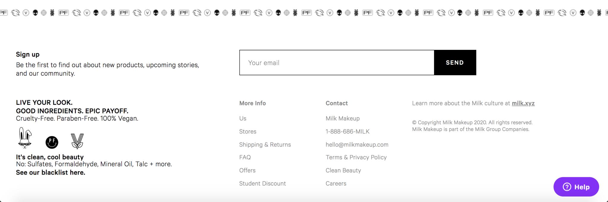Milk Makeup Website Design